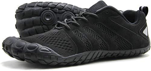 (Oranginer Men's Minimalist Barefoot Shoes Big Toe Box Casual Shoes for Men Black Size 12)