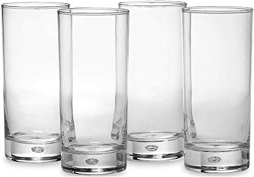 Circleware Air Bubble Heavy Base Highball Drinking Glasses, Set of 4, Dinnerware Kitchen Glassware for Water, Ice Beer, Wine, Cold Beverages and Best Bar Decor Gifts, 18 oz, Oslo Tumbler ()