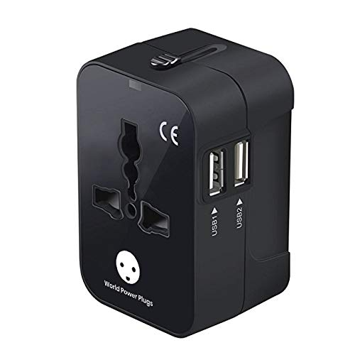 World Power Plugs Universal travel adapter, All in One Power Plug and Outlets Adapter with Dual USB Charging Ports for USA EU UK AUS (Black)