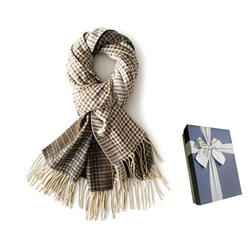 Houndstooth Cashmere Scarf for Women 2 PLY, Soft Fashion Long Tassel Scarves Shawl Wraps with Gift Box for Friends/Family Yellow ()