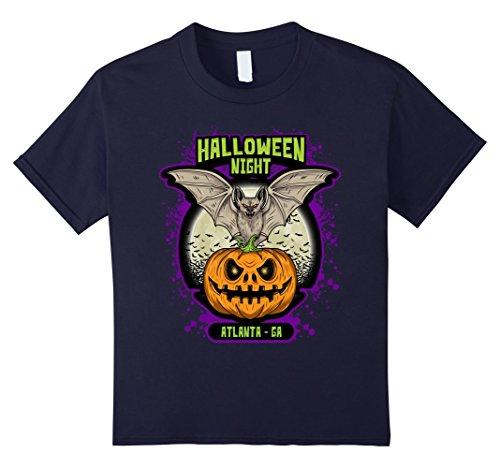 Halloween Costumes Atlanta Ga (Kids Halloween Night Atlanta GA TShirt Bat Jack-O-Lantern Pumpkin 12 Navy)
