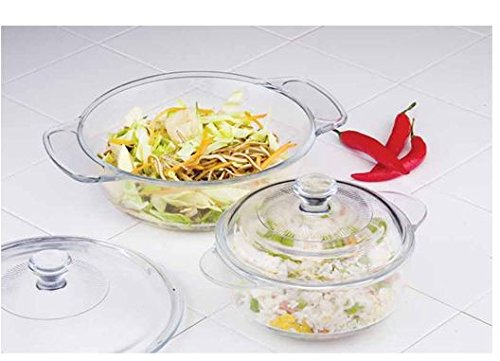 Uniware Super Quality Tempered Glass Casserole with Glass Lid, Set of 2, Clear (Round (1.8 Qt + 1 Qt))