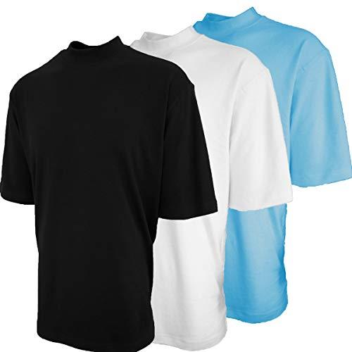 (Good Life Mock Turtleneck Shirt 100% Cotton Short Sleeve Pre-Shrunk 3-Pack (XL, Black/White/SkyBlue 3-Pack))
