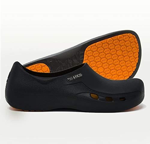 STICO Men's Slip Resistant Chef Clogs, Professional Non-Slip Work Shoes with Air Vents for Restaurant Hospital Nursing Garden [Black/US Men 9] by Stico (Image #6)