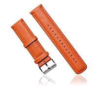 Nuosi Deng Leather Bracelet Watchband Strap Watch Band for Samsung Galaxy Gear Gear 2 R380/neo R381/live R382 Smart Phone and for Lg G W100 W110 Smartwatch (Leather Orange)