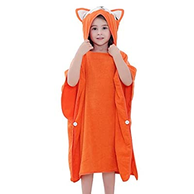MICHLEY Animal Hooded Baby Towel Washcloth, Toddler Premium Cotton Absorbent Bathrobe for Girls Boys 0-6T