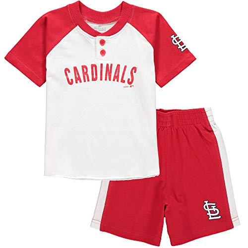 Outerstuff MLB Infants Toddler Good Hit Short Sleeve Henley & Shorts Set (12 Months, St Louis Cardinals)