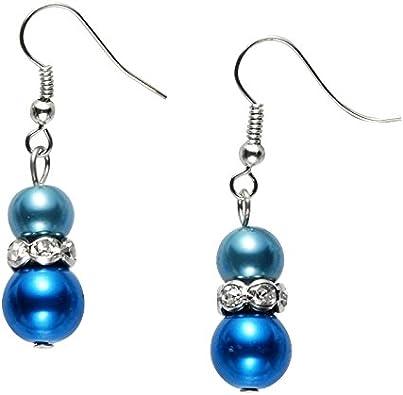 boucle d'oreille perle bleue pendante