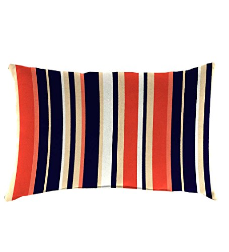 Classic Polyester Decorative Outdoor Lumbar Throw Pillow, 19'' x 12'' x 5.5'' - Midnight Stripe
