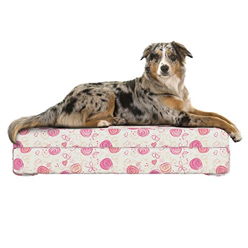 (Lunarable Blush Dog Bed, Watercolor Doodle Style Rosebuds Hearts and Dots in Romantic Valentines Day Pattern, Dog Pillow with High Resilience Visco Foam for Pets, 32