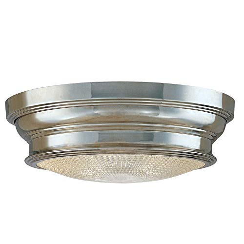 Woodstock 2-Light Flush Mount - Polished Nickel Finish with Clear Prismatic Glass Shade