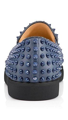 ZXD NigMa - Zapatillas SlipOn Piel Sintética con Tachuelas Pinchos Varios Colores Suela Plana de Goma Azul Marino