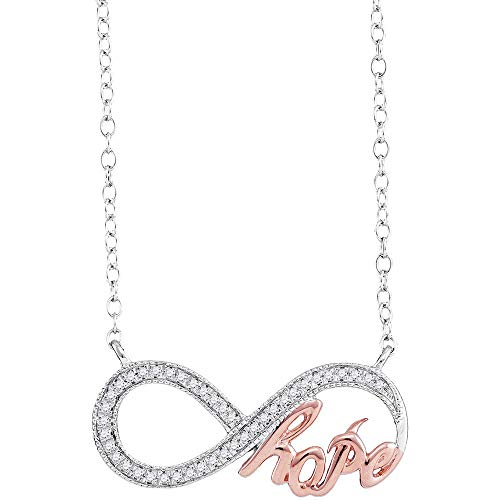 - 10kt White Gold Womens Round Diamond Infinity Hope Rose-tone Pendant Necklace 1/10 Cttw