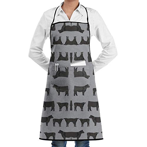 colory Black Angus Fabric Cattle and Cow Fabric Cow Desi Apron for Men and Women,with Pockets28.3 x20.5