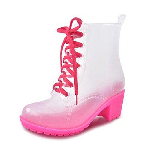 Boots Rain 41 Thick Heels Lace Ankle Hoger Rubber Rainboots Rose Shoes Luise Transparent Up Women High Size Boots 36 Woman qEwCU05z
