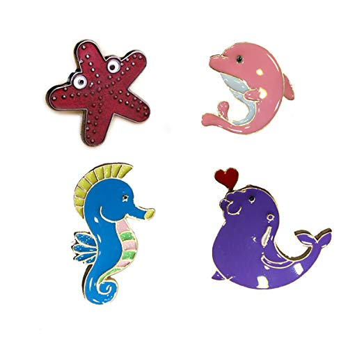 MeliMe CIOOU Cute Cartoon Brooch Pins Enamel Brooches Lapel Pins Badge for Women Girls Children for Clothing Bag Decor (Starfish Dolphin pins)