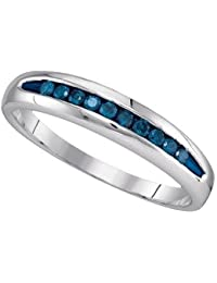 025ctw mens blue round diamond ring wedding band