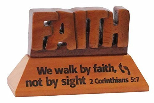 Shalom Faith Christian wood mahogany desktop gift 10cm we will walk by faith Corinthians ornament by Shalom
