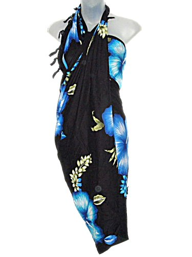 Hawaiian Long Sarong- Black With Blue & Aqua Hibiscus Flowers