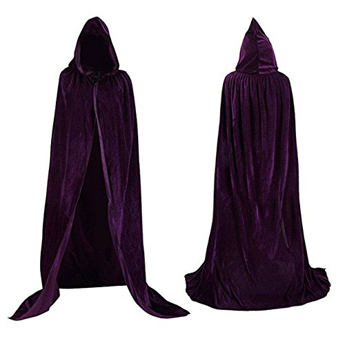 "Velvet Cloak Cape Wizard Hooded Party Halloween Cosplay Costumes for Men Women 53"" (Dark Purple) ()"