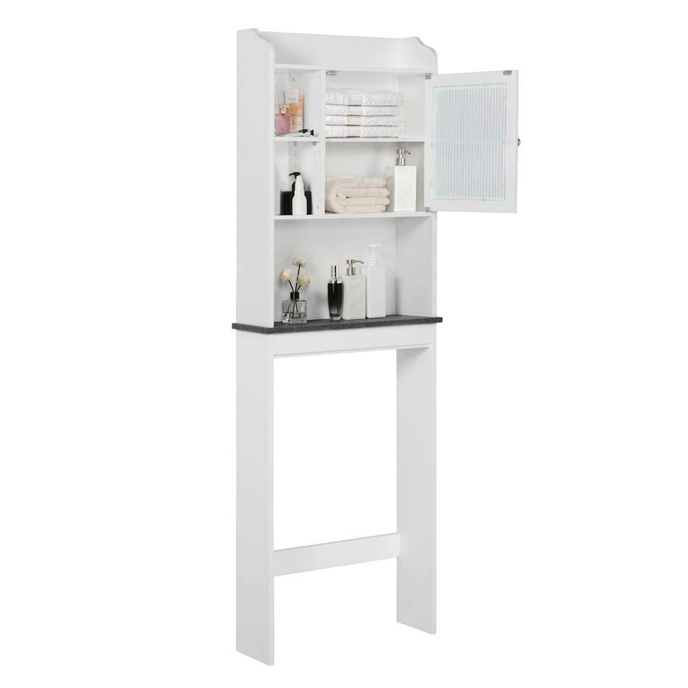 Yaheetech Bathroom Organizer Over The Toilet, Wooden Modern Space Saver Storage Cabinet with Adjustable Shelf and Glass Door, White by Yaheetech