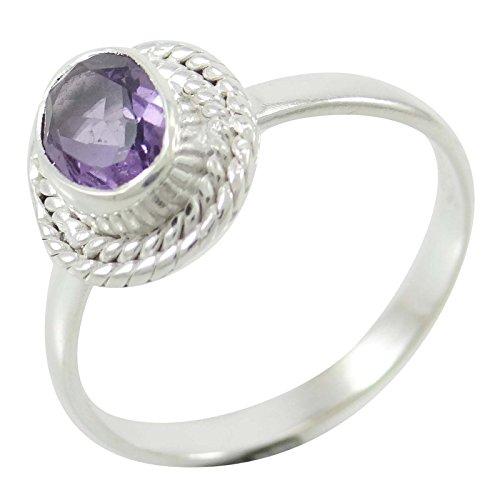 Banithani 925 Pure Silver améthyste Pierre Mode Bande indienne Bijoux cadeau pour les femmes