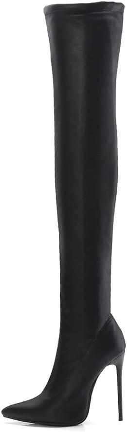 Femme Hiver Elastique Bottes Cuissardes Talons Aiguilles Dessus du Genou Boots Talon Haut Bottes en Cuir Bout PointuLAutomne Noir Taille EU 35-45