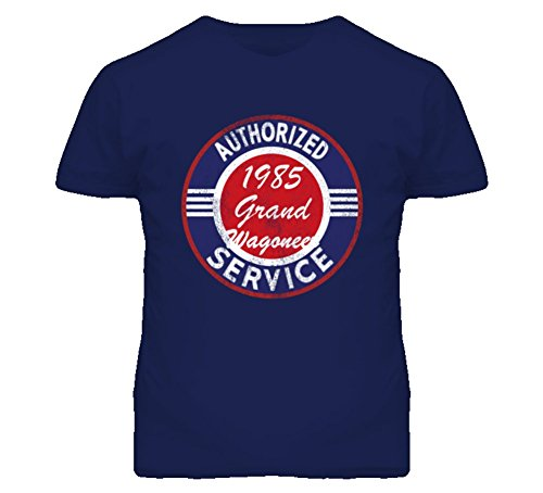 CarGeekTees.com Authorized Service 1985 SJ?Jeep Grand Wagoneer Distressed Look Dark Cargeek T Shirt L Navy (Grand Service compare prices)