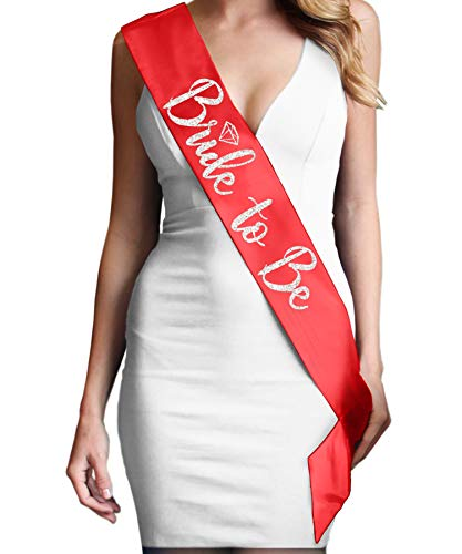Bride Sash For the Bridal Shower - Bride To Be Diamond Silver Glitter Satin Sash - Bachelorette Party Supplies - Red -