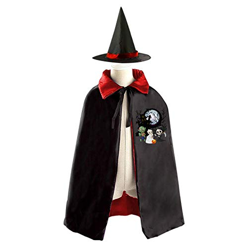 69PF-1 Halloween Cape Matching Witch Hat Malformed Bride Wizard Cloak Masquerade Cosplay Custume Robe Kids/Boy/Girl Gift Red