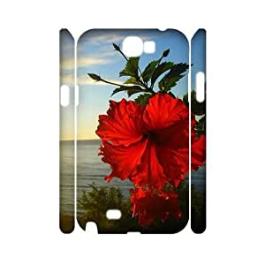 Red Hawaii Flower Customized 3D Cover Case for Samsung Galaxy Note 2 N7100,custom phone case ygtg607183