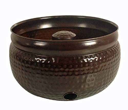 Madhu's COLLECTION - MG Décor Hammered Water Hose Pot in Copper Finish, 20 by 20 by - Beverage Copper Stand Tub
