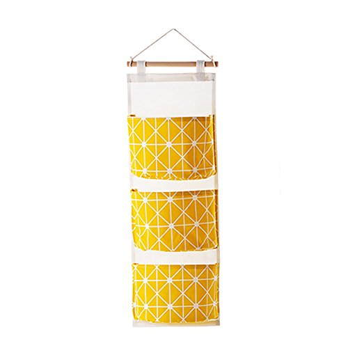 Wall Mounted Storage Bag Over the Door Storage Pockets Wall Door Closet Hanging Storage Bag Organizer (Yellow) - Yellow Closet Organizer