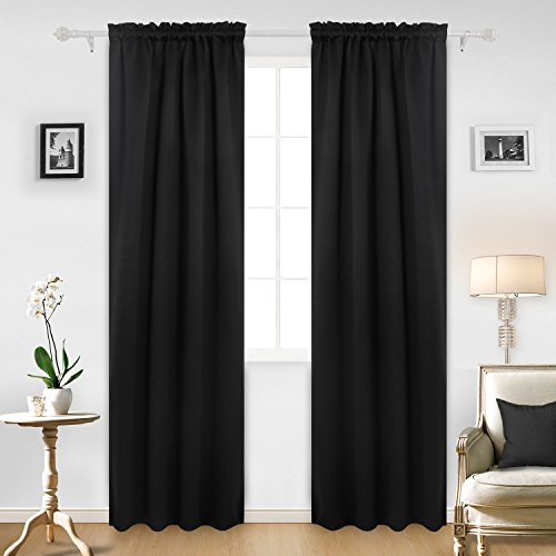 Deconovo Black Blackout Curtains Rod Pocket Curtain Panels Thermal Insulated Curtains for Sliding Door 52 W x 95 L Inch 2 Panels