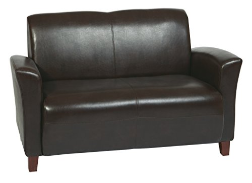 Office Star Breeze Mocha Eco Leather Love Seat with Cherry Finish (Cherry Leather Loveseat)