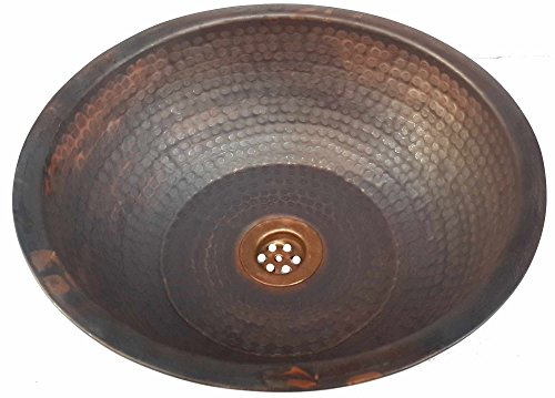 Egypt gift shops Fire Patina Drop in Overmount Vanity Vessel Pure Copper Bath Room Round Sink House Kitchen Replacement Remodel