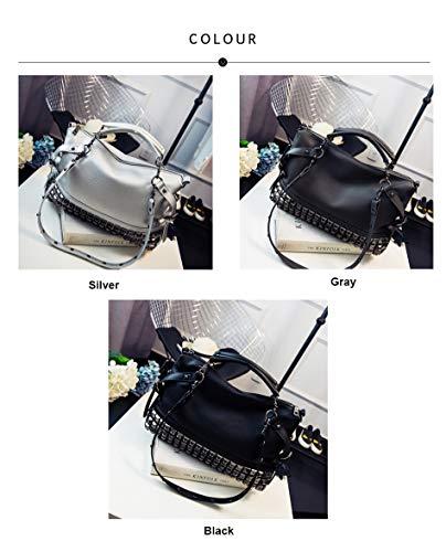 Sentsreny fourre tout Sacs à Sac Designer Grand main Vintage Silver bandoulière Sacs à Cuir Pu décontracté Sac Rivet 86Ip8Zr