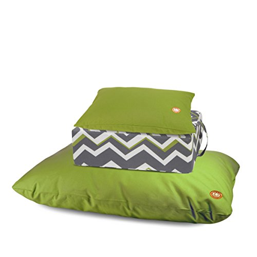 Pure Life Meditation - 3 Piece Limited Edition Set with Support Cushion, Tibetan Seat & Zabuton (Spring Green, Chevron, Spring Green) by Pure Life Meditation