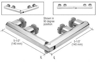 Series 90 Degree Glass - C.R. LAURENCE ARC180PS CRL Polished Stainless Arctic 180 Series Glass-to-Glass Hinge