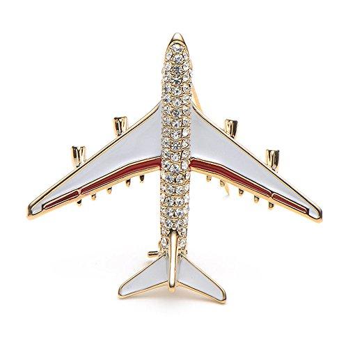 New-Hi Rhinestone Airplane Model Brooch Corsage Pin Flight Attendant Uniform Jewelry Clothes Suit Decor for Women Ladies Girls (Red) - Xls Model