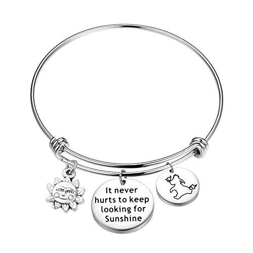 (KUIYAI It Never Hurts to Keep Looking for Sunshine Bracelet Eeyore Quote Bracelet Inspiration Gift)
