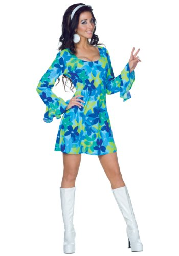 70s Wild Flower Dress Costume X-Small