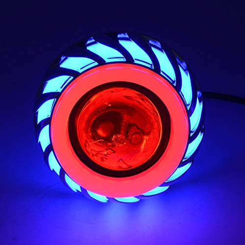 Motorcycle LED Headlight Motor Spot Lights Bulb Waterproof Driving Lamps with Angel Eyes Lights 1200LM 30W Multi-Color Lighting Optional,Motorcycle Accessories (Color : C)