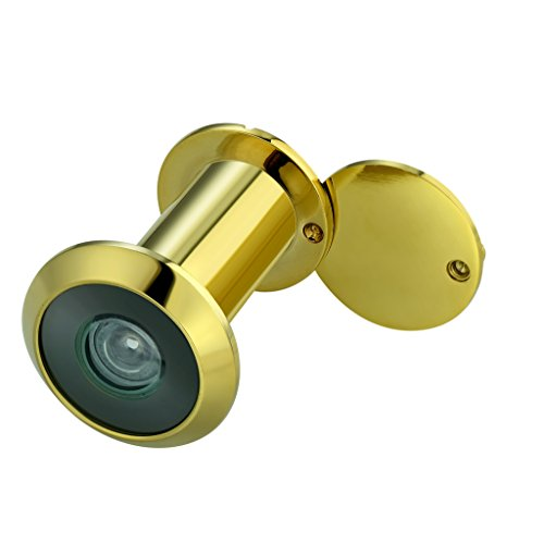 TOGU TG2814YG-PC Brass UL Listed 220-degree Door Viewer with Heavy Duty Privacy Cover for 1-3/8 to 2-1/6 Doors, Polished Gold Finish