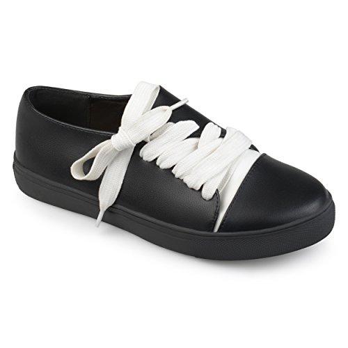 Journee Collectie Dames Veganistisch Diagonaal Veter Sneakers Zwart