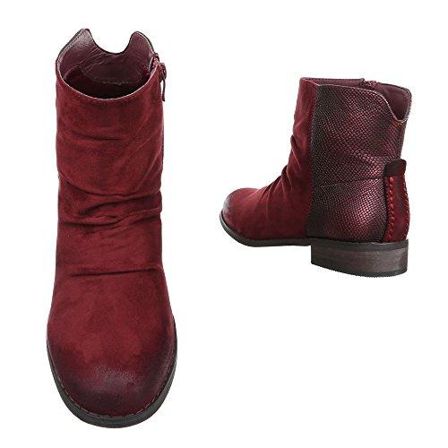 Ital-Design Damen Schuhe Blockabsatz Schlupfstiefel Reißverschluss Komfort Stiefeletten Stiefeletten Blockabsatz Weinrot