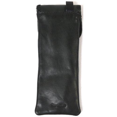 Ladies Genuine Premium Soft Leather Glasses Case with Decorative Stitching ( Black )