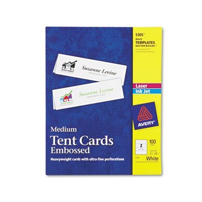 Avery 5305 Medium Embossed Tent Cards, White, 2-1/2 x 8-1/2, 100 Cards/Box -