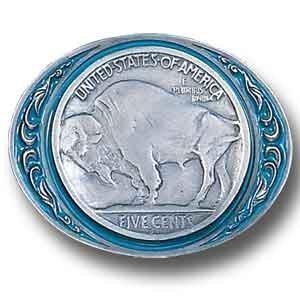 (Pewter Belt Buckle - Buffalo Nickel)