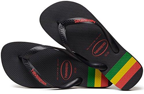 Havaianas Top Stripes Logo Nero Multi Donne Degli Uomini Unisex Beach Flip Flops